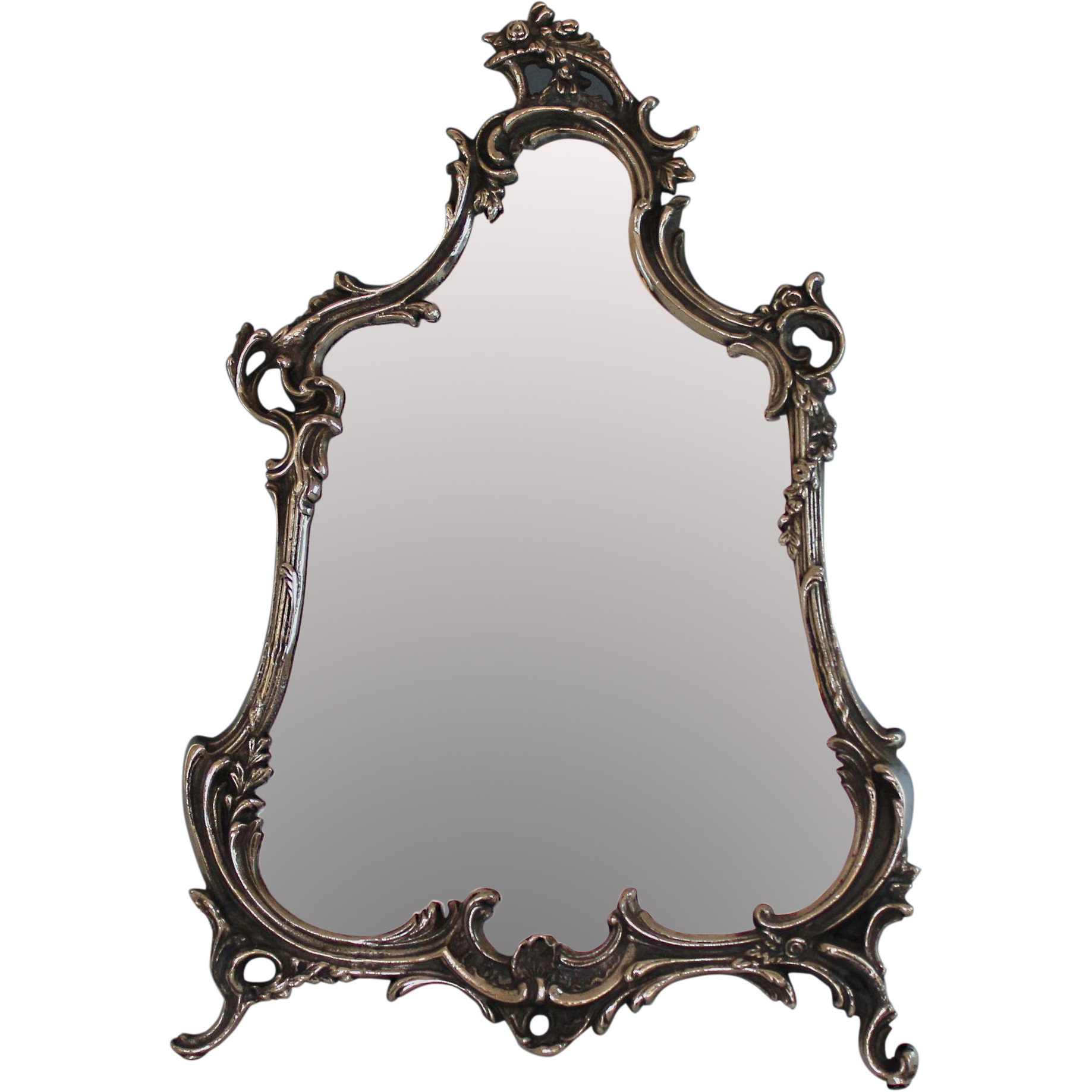 Antique Ornate Silver Plate Rococo Style Vanity Mirror