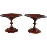 Pair Antique French Burl Wood Amboyna Compotes, Dishes Tazzas