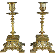 Impressive Pair of Square Brass Candelabra Candle Sticks