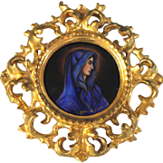 Limoges Kiln Fired Enamel on Copper Miniature Portrait of a Lady in Blue