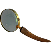 Vintage Gold Metal and Horn Magnifying Glass B
