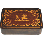 Vintage Reuge Inlaid Wood Music Box Marquetry