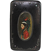 Antique Paper Mache Snuff Box with Hand Painted Miniature Portrait