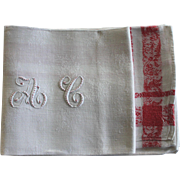 """12 Antique French Linen Monogrammed Napkins A C, w Monogrammed Tablecloth 60"""" x 88"""""""