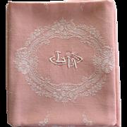 12 Antique Pink French Linen Monogrammed Napkins LM