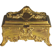 Antique French Gilded Metal Jewelry Casket Keepsake Box