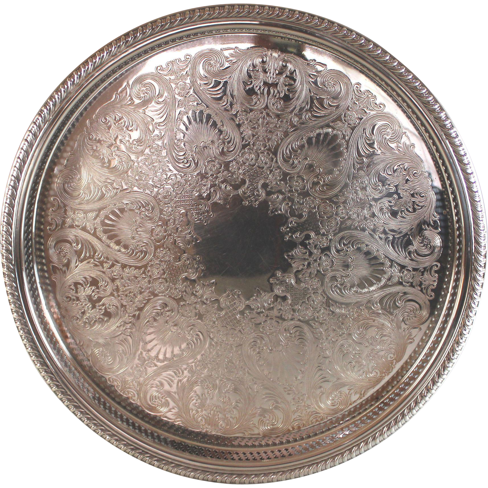 Large Vintage Rogers Round Silverplate Gallery Tray Silver