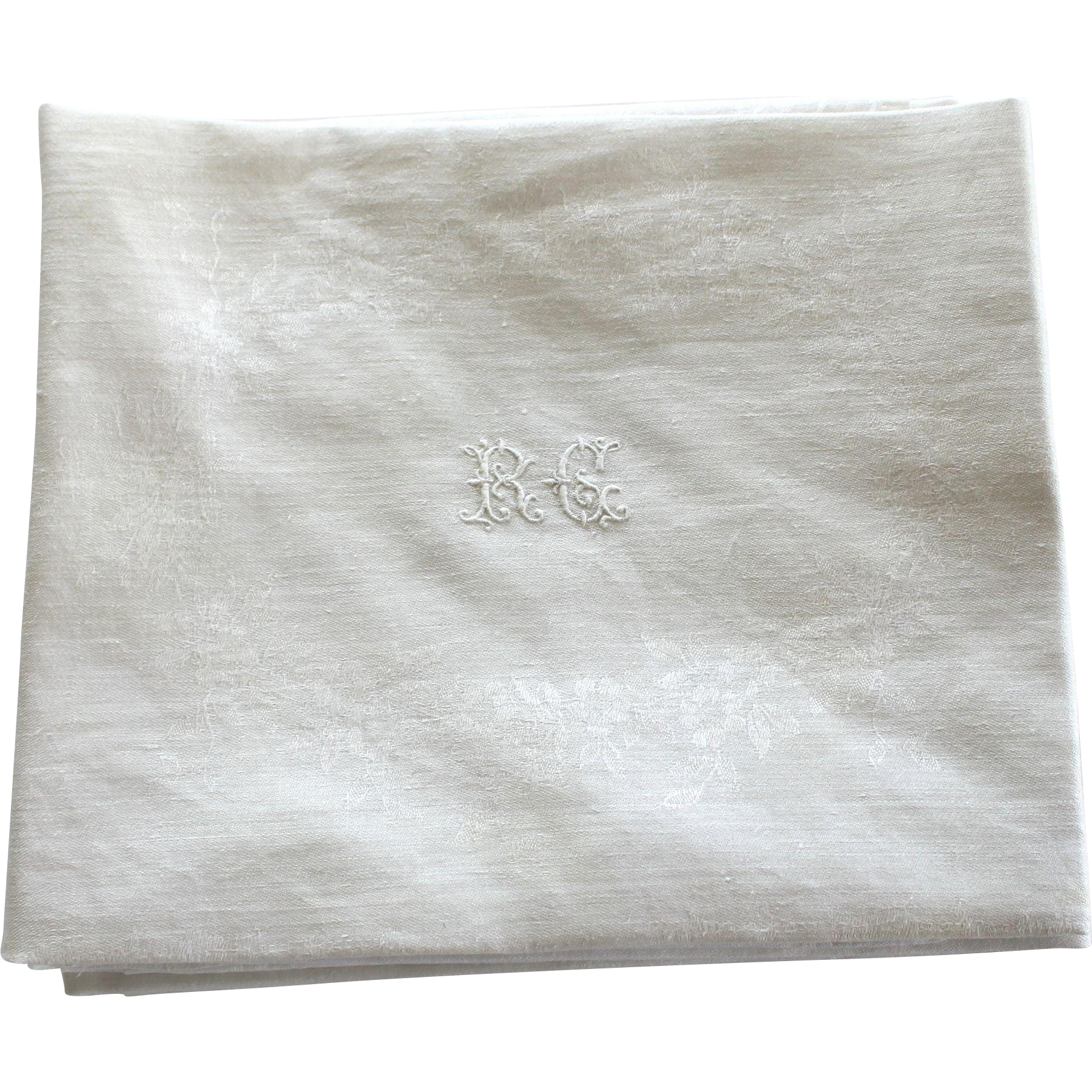 12 antique french linen monogrammed napkins r c - Linen Monogrammed Napkins