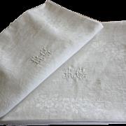 Antique French Linen Monogrammed Napkins R C Set of 10