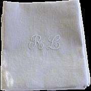 French Antique Linen Monogrammed Napkins R L Set of 12