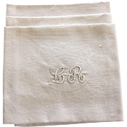 10 Antique French Linen Monogrammed Napkins L R Monogrammed Tablecloth 60x 92