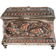 Antique French  Silverplate Repousse Jewelry Box with Birds Silver Plate