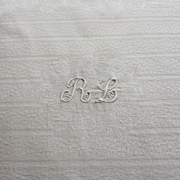 Antique French Linen Monogrammed Tablecloth R L 60 x 92 Table Cloth