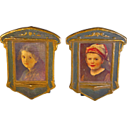 Arts and Crafts portraits plaques of Hansel and Gretel after Ferdinand Shauss (1832-1916)