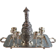 Antique Repousse Silverplate Decanter Ewer Decanter with Cordials & Tray Silver Plate