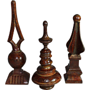 Set of Three Patinated Metal Finials Desk Ornaments