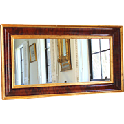 Antique American Empire Flame Mahogany Over-Mantle Mirror with Gold accents