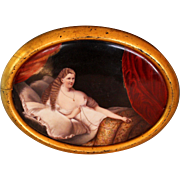 Antique Handpainted Plaque in Gilded Wood Frame of Nude in Repose
