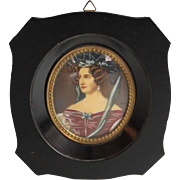 Antique Hand Painted Miniature Portrait of a Lady in a Red Dress