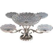 Italian Silverplate and Cut Glass Epergne Centerpiece Silver Plate
