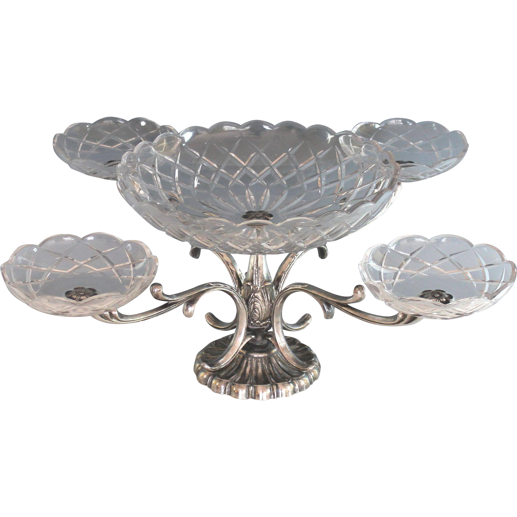 Italian silverplate and cut glass epergne centerpiece