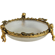 Antique Ormolu and Glass Bowl with Putti