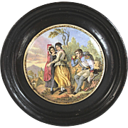 Antique English Framed Pot Lid Prattware Pot Lid Soldier and Two Maidens