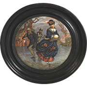 Antique English Framed Pot Lid Prattware Potlid Dutch Skaters