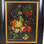 Dutch School Oil on Panel Painting of a Bouquet of Flowers