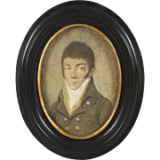 Hand Painted Miniature Portrait of a Gentleman 1770