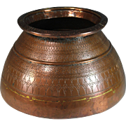 Antique Large Islamic Middle Eastern Copper Pot Vessel Signed Dovetailed