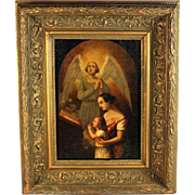 Small oil on Panel of a Religious Scene with Mother and Child Praying with Angel
