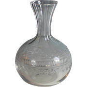 Antique Hand Blown Glass Wine Decanter with Etched Border