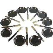 Mixed Sterling Silver Collared Mother of Pearl Butter Knives/ WMF Pats 10 plus 1