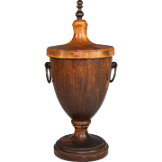 Antique Wood Wooden Lidded Box/Urn Finial Shape