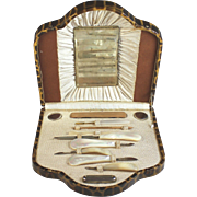 Antique Vanity Manicure Set with Mother of Pearl Implements