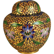 Vintage Cloisonne Champleve Covered Jar Vessel Pot