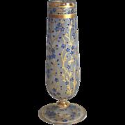 Antique Moser Glass Bud Vase, Forget Me Nots