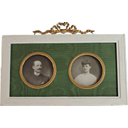 Antique French Gold Gilt Miniature Double Bow Top Portrait Frame Bowtop