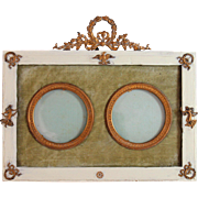 Antique French Gold Gilt Napoleon Era Double Portrait Frame Bowtop II