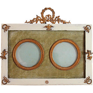 Antique French Gold Gilt Napoleon Era Double Portrait Frame Bowtop II