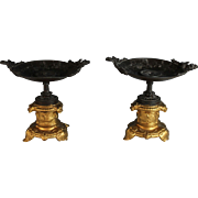 Pair Antique French Neo-Classical Bronze Tazza's
