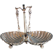 Vintage Two-sided Silverplate Condiment Dish with Two Tongs