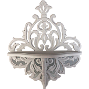 Ornately Carved Vintage Painted Wood Wall Shelves Brackets