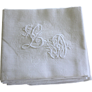 Set of 12 Antique French Linen Napkins Monogrammed L D