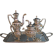 Antique French Roux Marquiand Silverplate Tea Set with Tray Bird Spouts