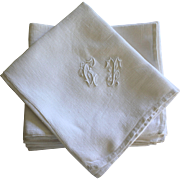 Set of Twelve Antique French Linen Napkins Monoframmed C T