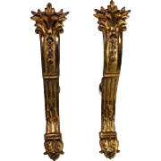 Antique French Gilt Bronze Empire Style Drapery Curtain Rod Holders B