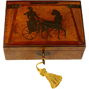 Antique Wood Dresser Box with Wood and Copper Inlays Roman Chariot
