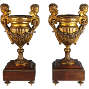 Antique French Gilded Bronze Urns with Wood Wooden Base